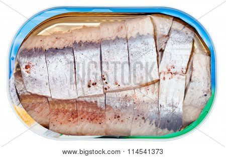 Canned Marinated Herring In Brine Isolated