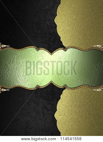 Black Texture With Gold Edge And Green Nameplate. Element For Design. Template For Design. Copy Spac