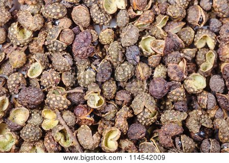 Many Dried Pods Of Sichuan Pepper