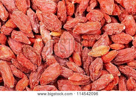 Dried Red Goji Berries Close Up