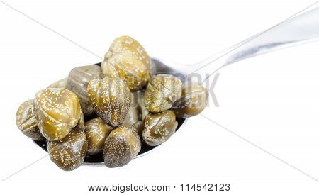 Pickled Capers In Spoon Isolated On White