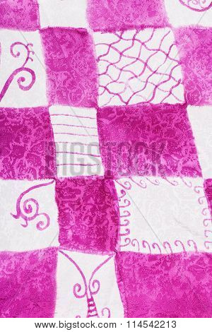 Abstract Pink And White Checkered Pattern On Batik