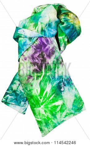 Knotted Silk Scarf With Green Blue Batik Pattern