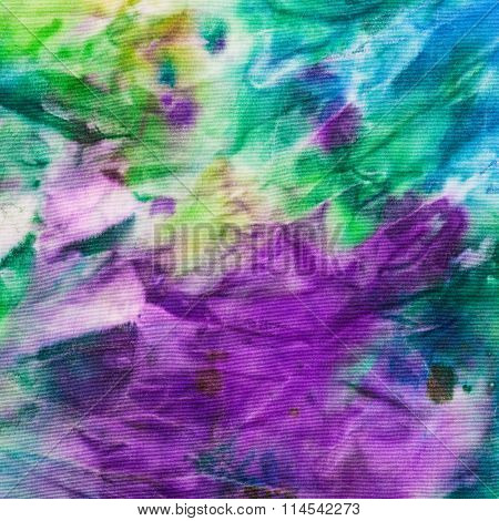 Hand Painted Green, Blue And Lilac Nodosa Batik