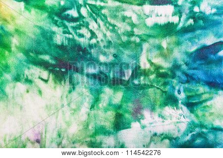 Abstract Hand Painted Green And Blue Nodular Batik