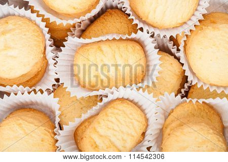 Many Sweet Shortbread Cookie In White Paper
