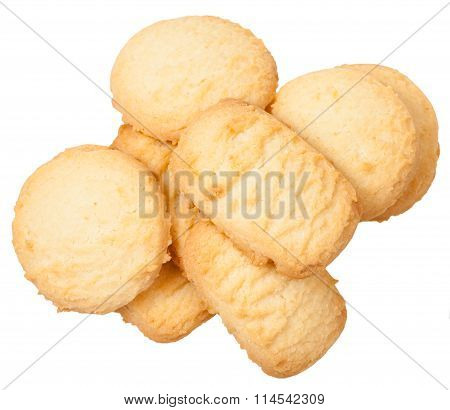 Above View Of Sweet Butter Shortbread Biscuits