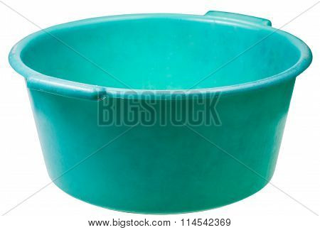 Old Green Plastic Round Wash Basin Isolated