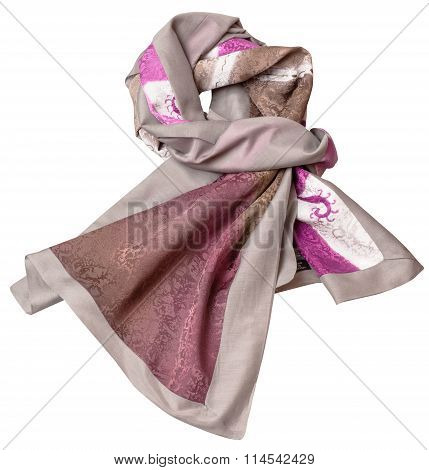 Knotted Sewing Silk Scarf With Pink Batik Pattern