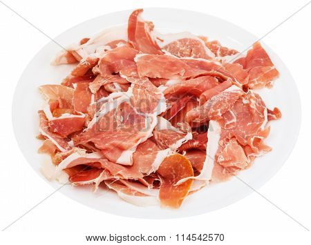 Thin Sliced Jamon On White Plate Isolated