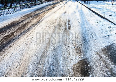 Snow Covered Slippery Urban Road
