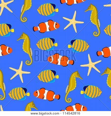 Marine life seamless background