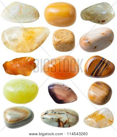 Set From 15 Pcs Yellow And Brown Gemstones