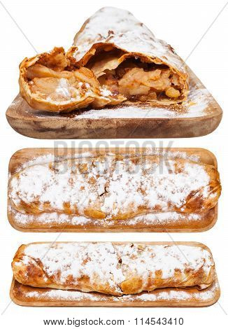 Set From Apple Strudel On Wooden Board Isolated