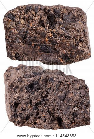 Two Pieces Of Peat (turf) Mineral Stone Isolated
