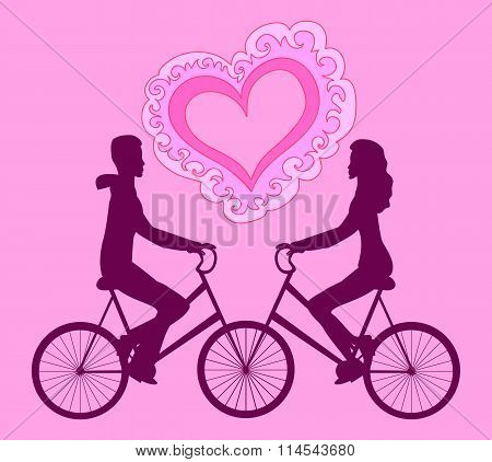 Vector illustration with happy couple riding on bikes towards each other