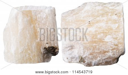 Two Pieces Of Gypsum (alabaster) Mineral Stone