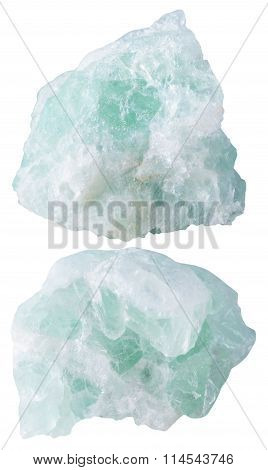 Two Pieces Of Fluorite (fluorspar) Mineral Stone