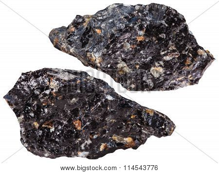 Two Pieces Of Obsidian Mineral Stone Isolated