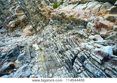 Mountain strip stone formations.