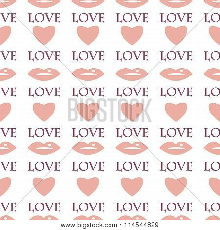 Seamless Pattern With Hearts And Lips For Valentine's Day