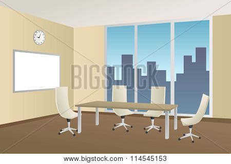 Office meeting room beige table chair window illustration vector