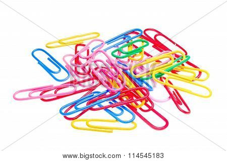 Detailed Photo Of A Colorful Pile Of Paper Clips