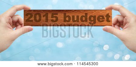 Hands Holding A Wood Engrave With Word 2015 Budget