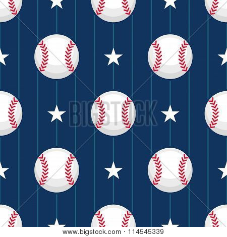 Seamless Vector Baseball Pattern