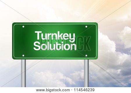 Turnkey Solution Green Road Sign, Business Concept..
