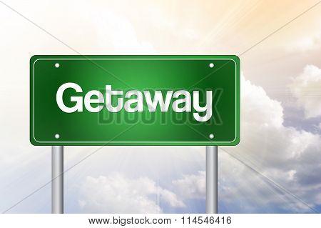 Getaway Green Road Sign Concept..