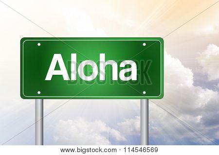 Aloha Green Road Sign concept, presentation background