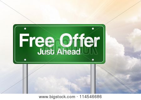 Free Offer Just Ahead Green Road Sign