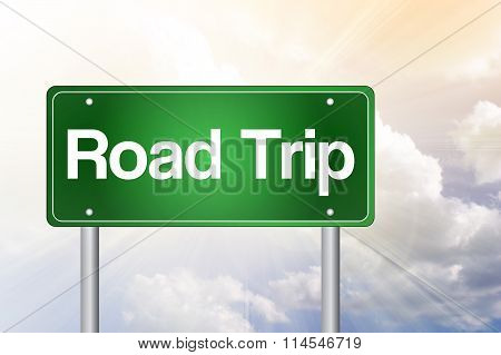 Road Trip Green Road Sign, presentation background