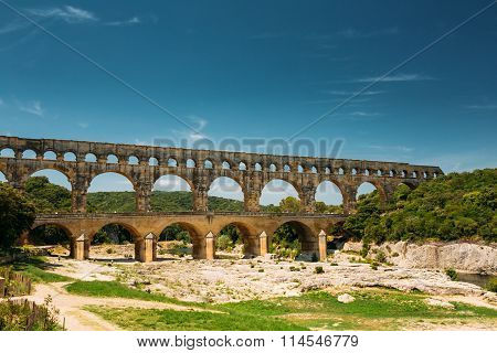 Ancient old Roman aqueduct of Pont du Gard, Nimes, France
