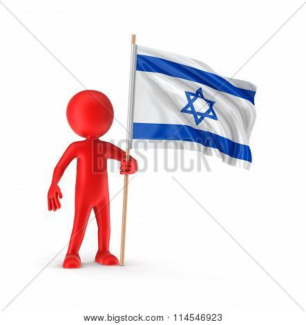 Man and Israeli flag. Image with clipping path