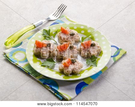 canape with pate tomato and capers