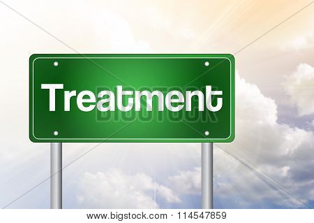 Treatment Green Road Sign, Business Concept