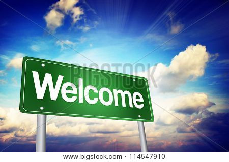 Welcome Green Road Sign, Business Concept