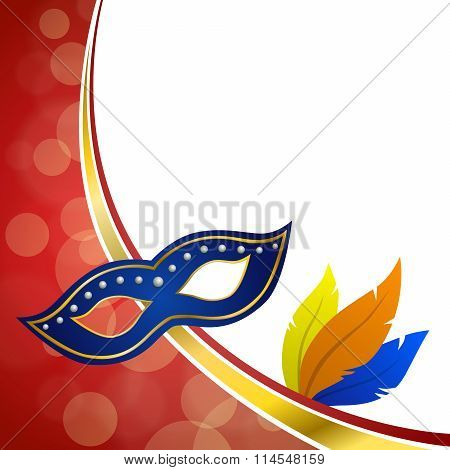 Background abstract red carnival party mask plumage gold frame illustration vector