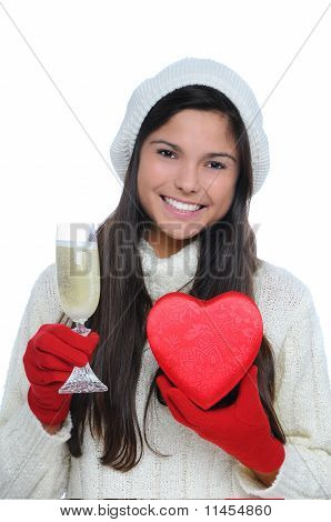 Young Woman With Champagne And Valentine Heart