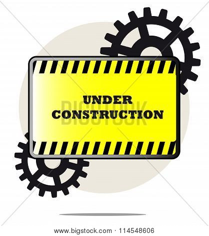 Illustration Of Under Construction Sign With Gears And White Background