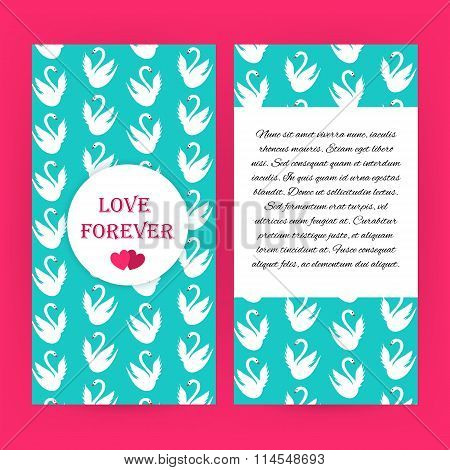 Love Forever Blue Flyer Brochure With White Swans