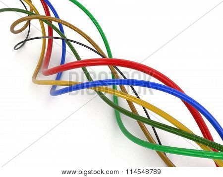 Colored cables. Image with clipping path.