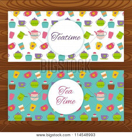 Teatime Web Banners On Wooden Texture