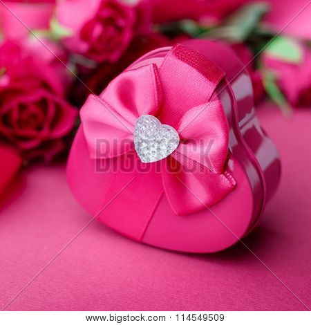 Gift Box In The Form Of Heart, Close Up