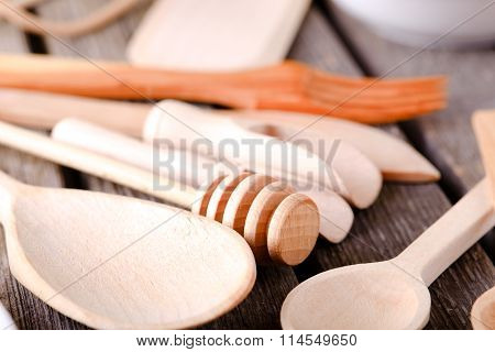 Honey Spoon And Other Wooden Dishware