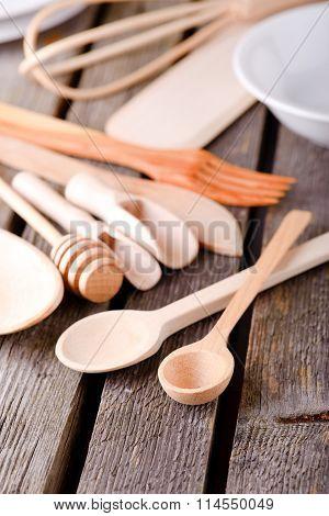 Wooden Spoon On Wooden Board