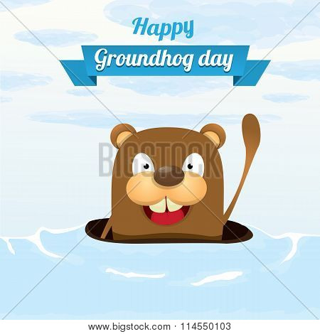 Groundhog day. vector greeting card