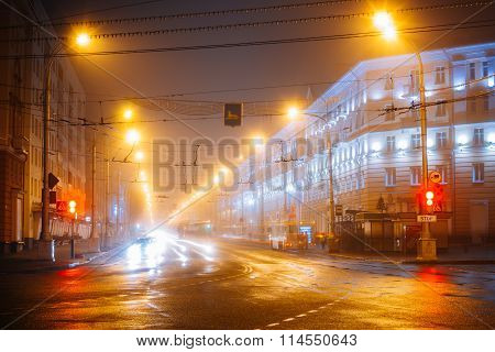 Speed Traffic Lights Trails On Lenin Avenue In Gomel, Belarus. S